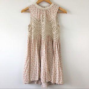 JODIFL Floral Lace Crochet Boho Tunic Tank Size S